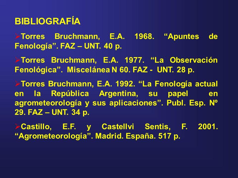 BIBLIOGRAFÍA Torres Bruchmann, E.A. 1968. Apuntes de Fenología. FAZ – UNT. 40 p. Torres Bruchmann, E.A. 1977. La Observación Fenológica. Miscelánea N