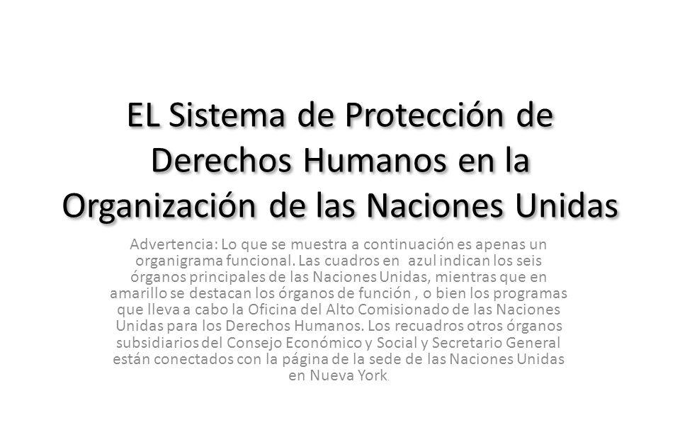 EL Sistema de Protección de Derechos Humanos en la Organización de las Naciones Unidas Advertencia: Lo que se muestra a continuación es apenas un orga