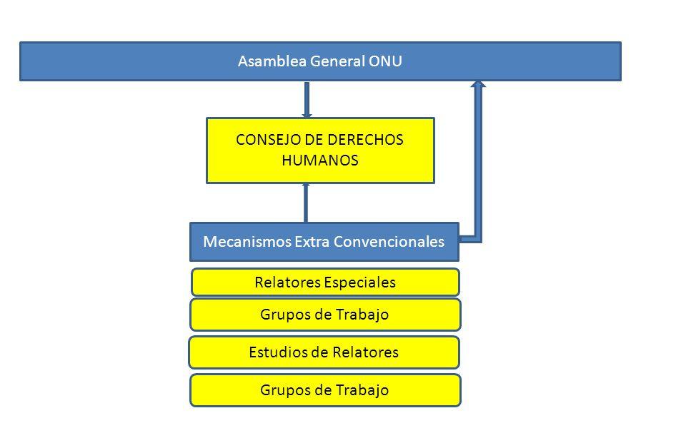 Asamblea General ONU CONSEJO DE DERECHOS HUMANOS Mecanismos Extra Convencionales Relatores Especiales Grupos de Trabajo Estudios de Relatores Grupos d