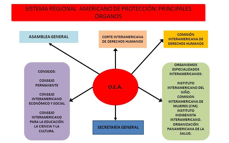 SISTEMA REGIONAL AMERICANO DE PROTECCIÓN: PRINCIPALES ÓRGANOS O.E.A. ASAMBLEA GENERAL CORTE INTERAMERICANA DE DERECHOS HUMANOS COMISIÓN INTERAMERICANA