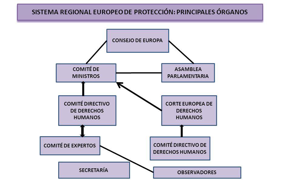 SISTEMA REGIONAL EUROPEO DE PROTECCIÓN: PRINCIPALES ÓRGANOS CONSEJO DE EUROPA COMITÉ DE MINISTROS ASAMBLEA PARLAMENTARIA COMITÉ DIRECTIVO DE DERECHOS