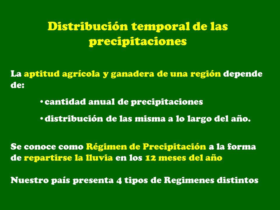 Distribución temporal de las precipitaciones La aptitud agrícola y ganadera de una región depende de: cantidad anual de precipitaciones distribución d