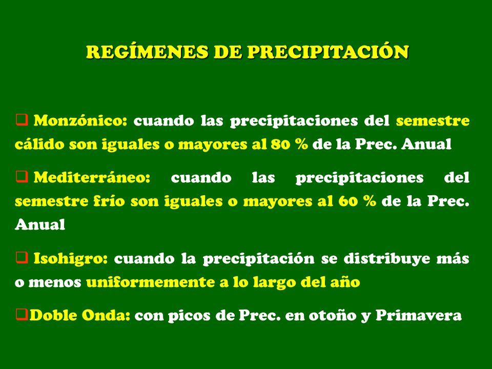 Monzónico: cuando las precipitaciones del semestre cálido son iguales o mayores al 80 % de la Prec. Anual Mediterráneo: cuando las precipitaciones del