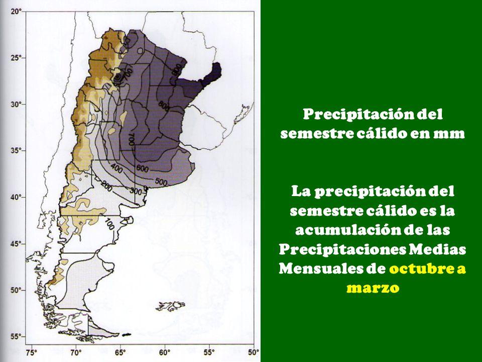 Precipitación del semestre cálido en mm La precipitación del semestre cálido es la acumulación de las Precipitaciones Medias Mensuales de octubre a ma