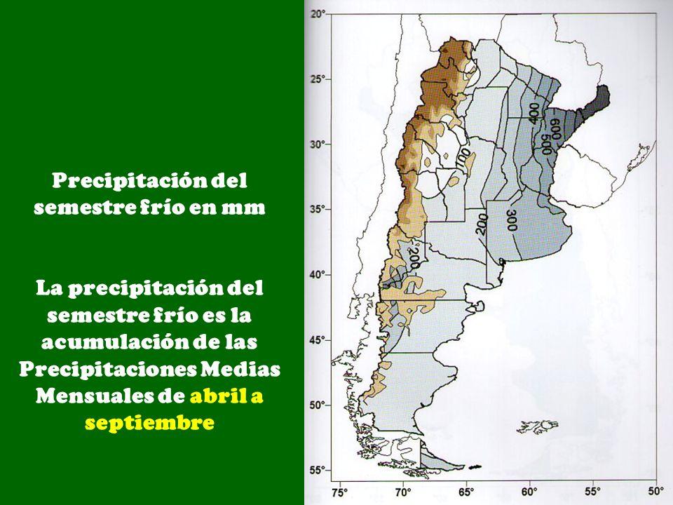 Precipitación del semestre frío en mm La precipitación del semestre frío es la acumulación de las Precipitaciones Medias Mensuales de abril a septiemb