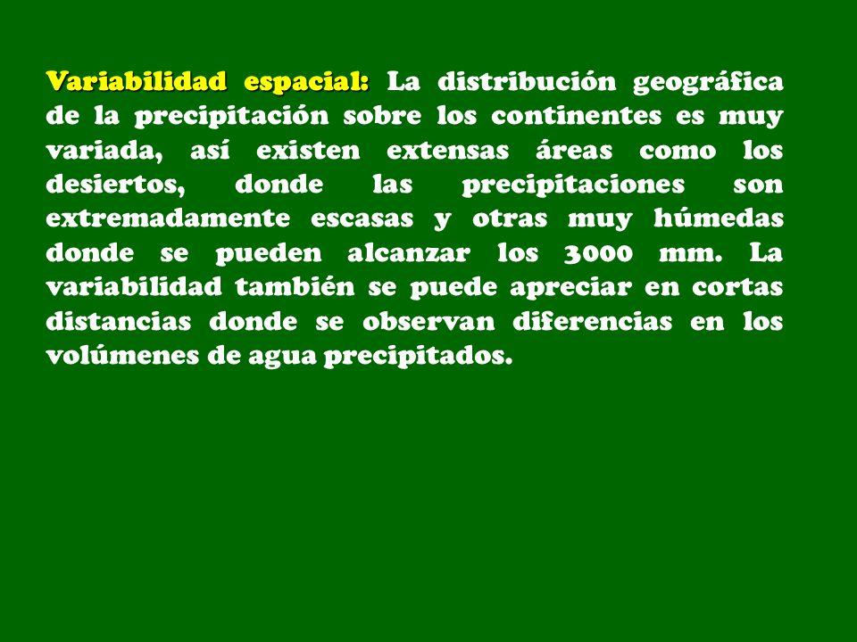 Variabilidad espacial: Variabilidad espacial: La distribución geográfica de la precipitación sobre los continentes es muy variada, así existen extensa