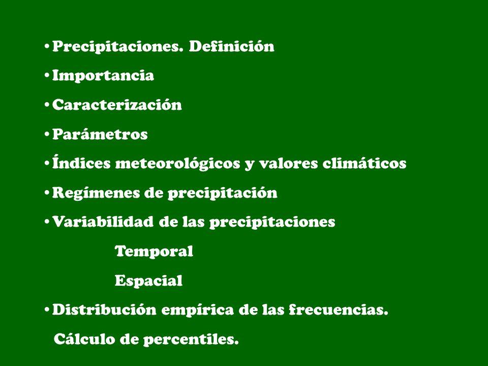 Precipitaciones. Definición Importancia Caracterización Parámetros Índices meteorológicos y valores climáticos Regímenes de precipitación Variabilidad