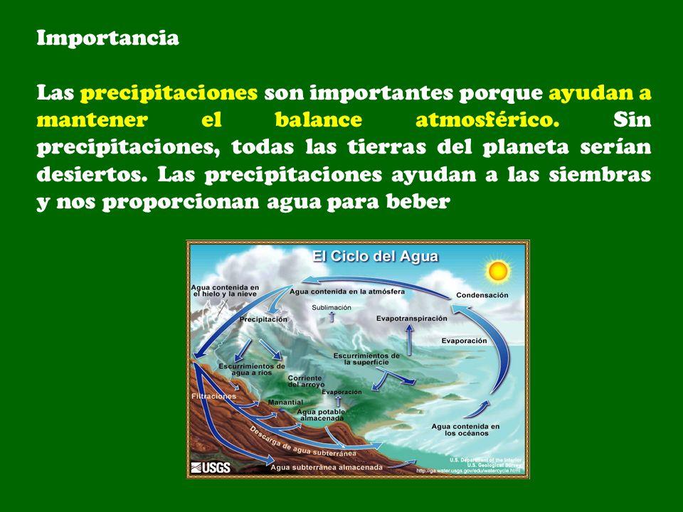 Importancia Las precipitaciones son importantes porque ayudan a mantener el balance atmosférico. Sin precipitaciones, todas las tierras del planeta se