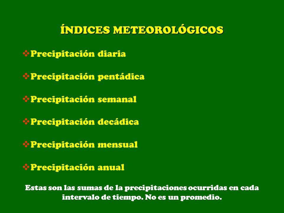 ÍNDICES METEOROLÓGICOS Precipitación diaria Precipitación pentádica Precipitación semanal Precipitación decádica Precipitación mensual Precipitación a