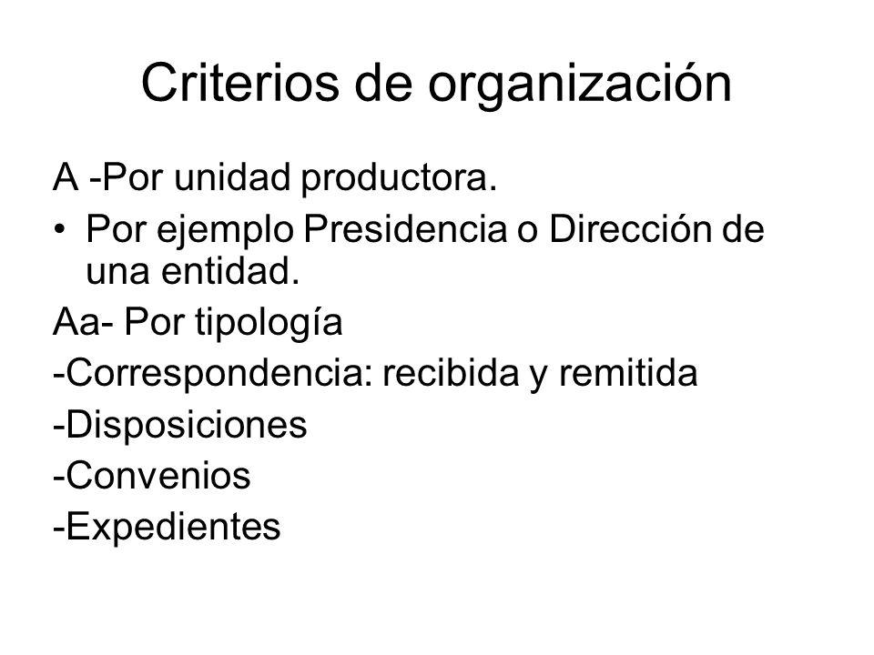 Criterios de organización A -Por unidad productora. Por ejemplo Presidencia o Dirección de una entidad. Aa- Por tipología -Correspondencia: recibida y