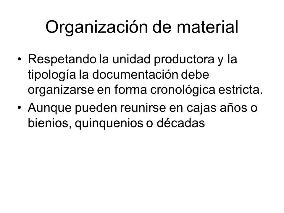 Organización de material Respetando la unidad productora y la tipología la documentación debe organizarse en forma cronológica estricta. Aunque pueden