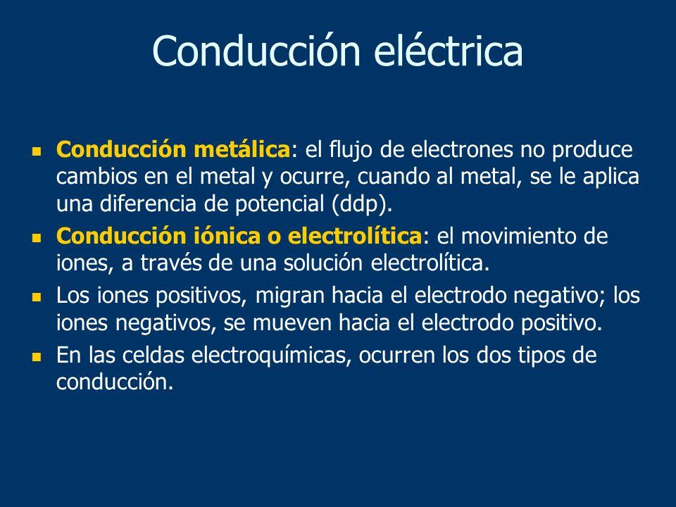 Conducción metálica: el flujo de electrones no produce cambios en el metal y ocurre, cuando al metal, se le aplica una diferencia de potencial (ddp).