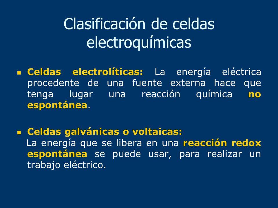 Clasificación de celdas electroquímicas Celdas electrolíticas: La energía eléctrica procedente de una fuente externa hace que tenga lugar una reacción