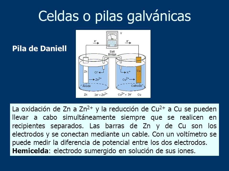 Celdas o pilas galvánicas La oxidación de Zn a Zn 2+ y la reducción de Cu 2+ a Cu se pueden llevar a cabo simultáneamente siempre que se realicen en r