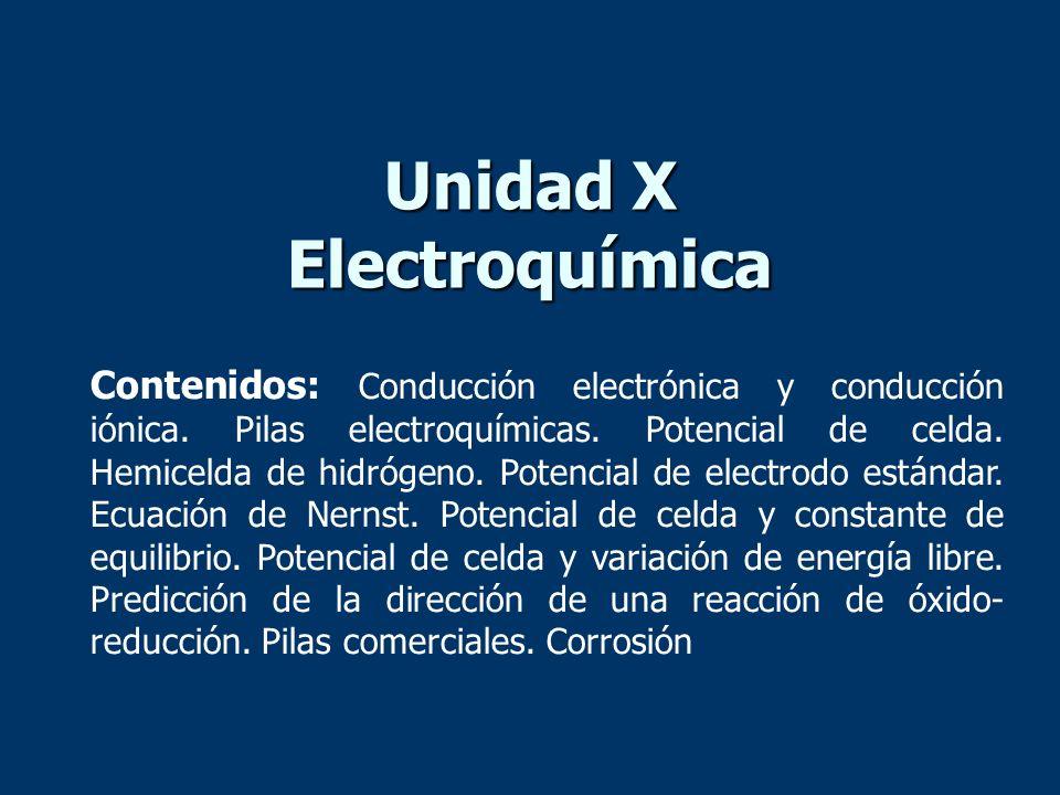 Unidad X Electroquímica Contenidos: Conducción electrónica y conducción iónica. Pilas electroquímicas. Potencial de celda. Hemicelda de hidrógeno. Pot