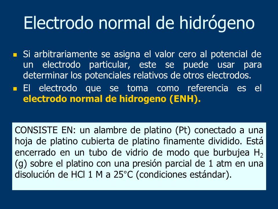 Electrodo normal de hidrógeno Si arbitrariamente se asigna el valor cero al potencial de un electrodo particular, este se puede usar para determinar l