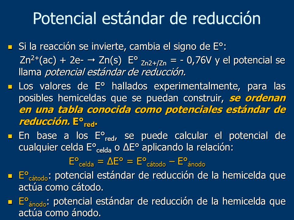 Si la reacción se invierte, cambia el signo de E°: Si la reacción se invierte, cambia el signo de E°: Zn 2+ (ac) + 2e- Zn(s) E° Zn2+/Zn = - 0,76V y el
