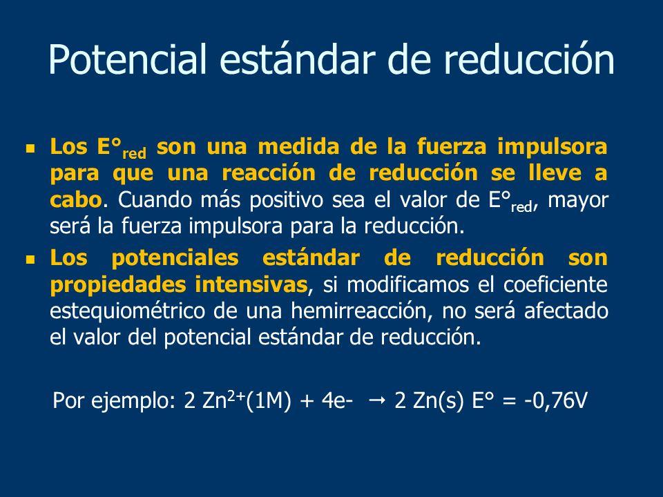 Los E° red son una medida de la fuerza impulsora para que una reacción de reducción se lleve a cabo. Cuando más positivo sea el valor de E° red, mayor