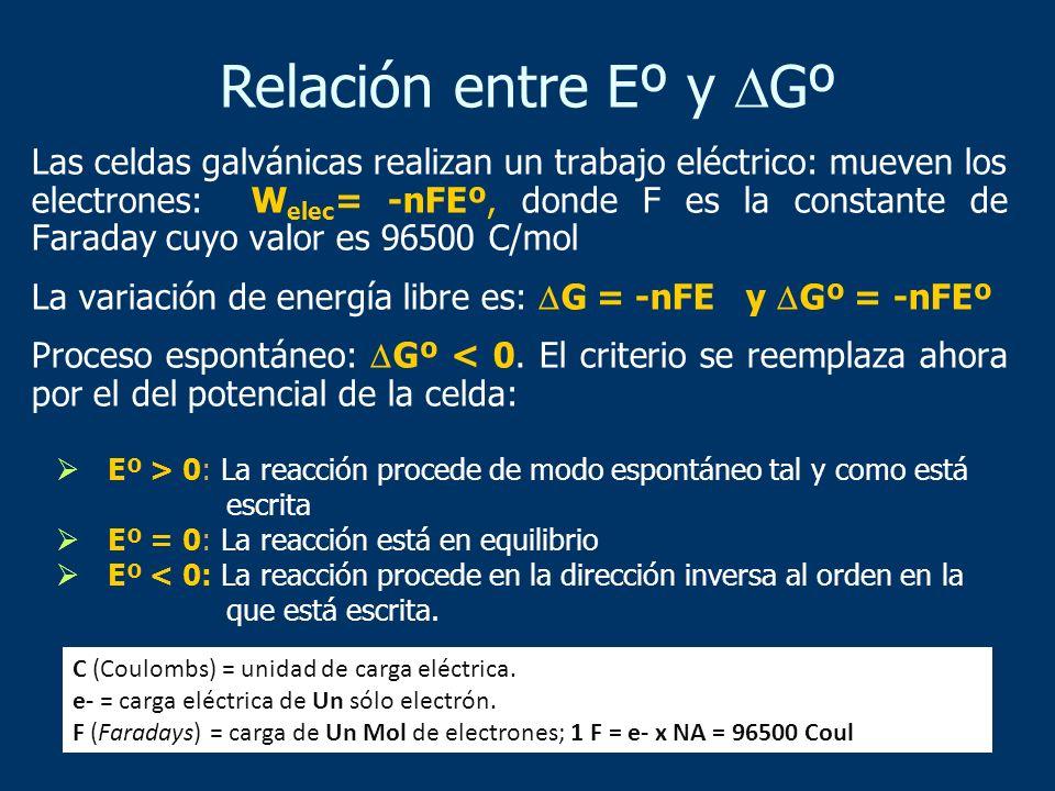 Las celdas galvánicas realizan un trabajo eléctrico: mueven los electrones: W elec = -nFEº, donde F es la constante de Faraday cuyo valor es 96500 C/m