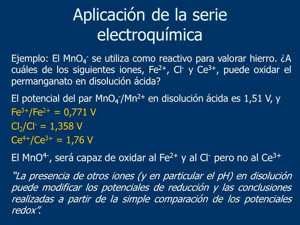 Aplicación de la serie electroquímica Ejemplo: El MnO 4 - se utiliza como reactivo para valorar hierro. ¿A cuáles de los siguientes iones, Fe 2+, Cl -