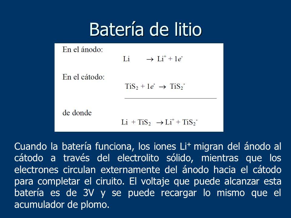 Batería de litio Cuando la batería funciona, los iones Li + migran del ánodo al cátodo a través del electrolito sólido, mientras que los electrones ci