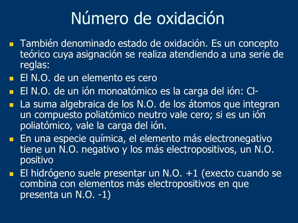 También denominado estado de oxidación. Es un concepto teórico cuya asignación se realiza atendiendo a una serie de reglas: El N.O. de un elemento es
