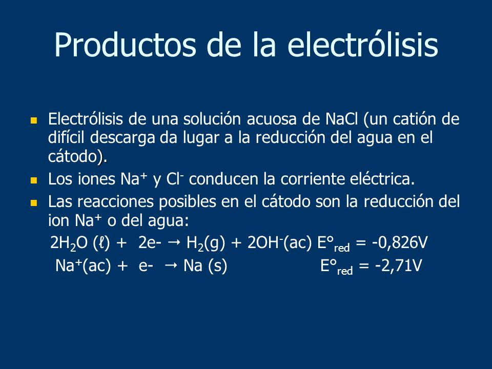 ). Electrólisis de una solución acuosa de NaCl (un catión de difícil descarga da lugar a la reducción del agua en el cátodo). Los iones Na + y Cl - co