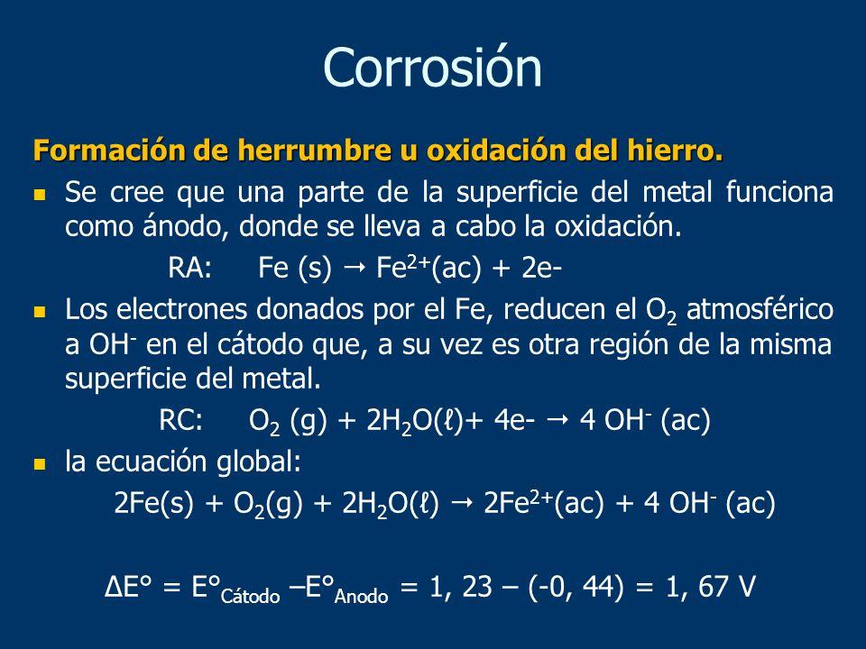 Formación de herrumbre u oxidación del hierro. Se cree que una parte de la superficie del metal funciona como ánodo, donde se lleva a cabo la oxidació