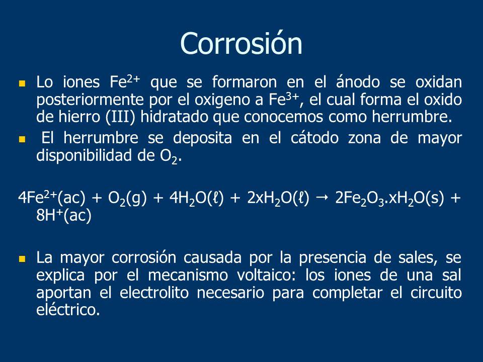 Lo iones Fe 2+ que se formaron en el ánodo se oxidan posteriormente por el oxigeno a Fe 3+, el cual forma el oxido de hierro (III) hidratado que conoc