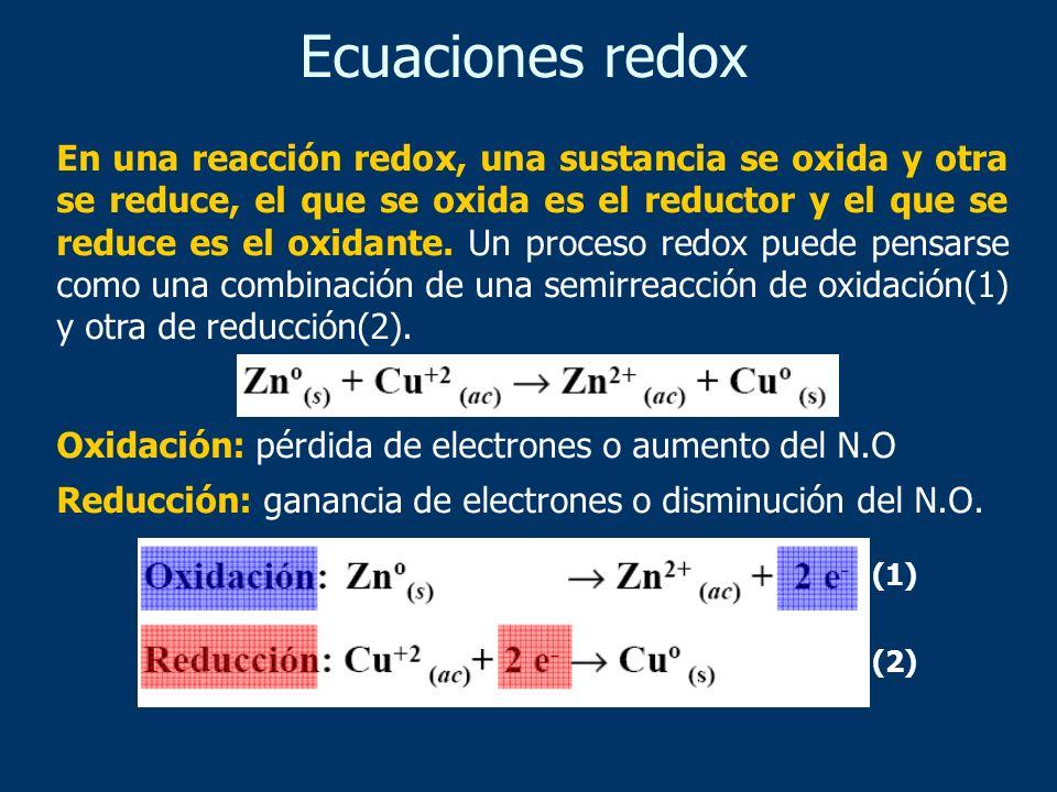 En una reacción redox, una sustancia se oxida y otra se reduce, el que se oxida es el reductor y el que se reduce es el oxidante. Un proceso redox pue