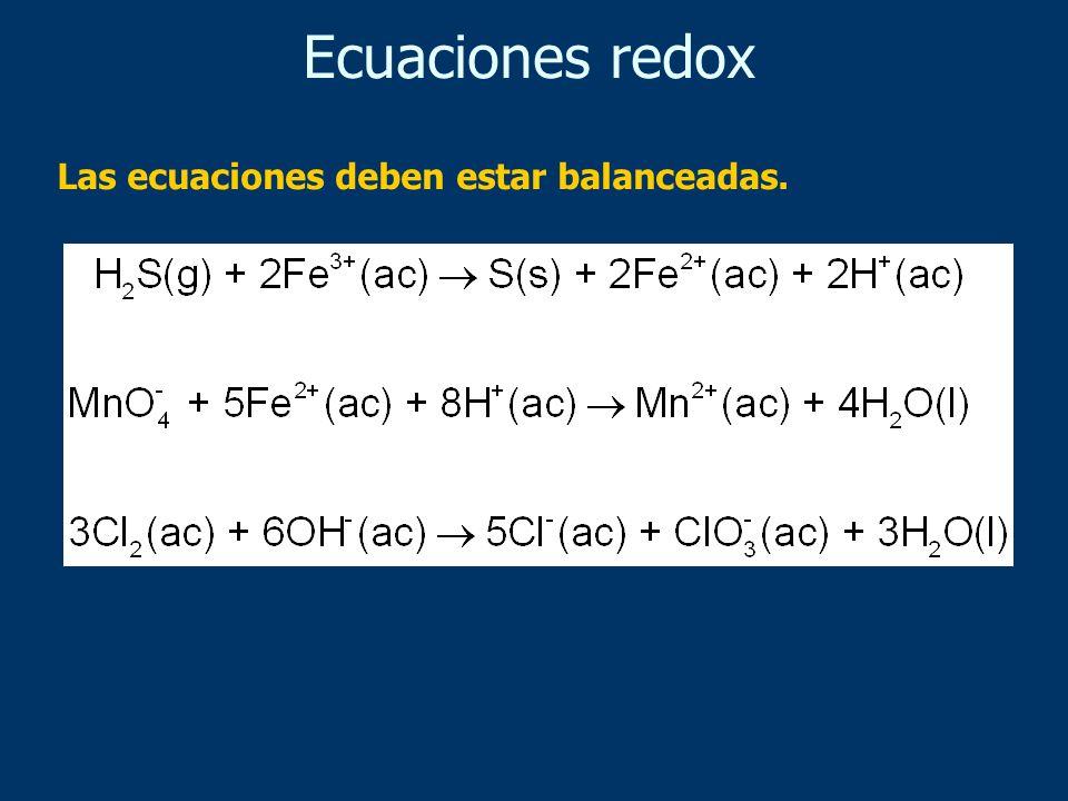 Las ecuaciones deben estar balanceadas. Ecuaciones redox