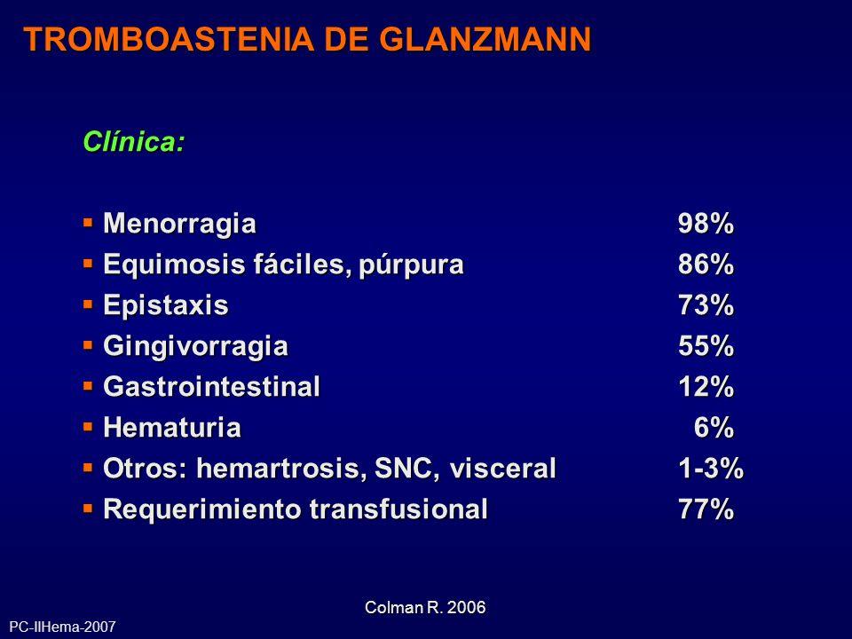 TROMBOASTENIA DE GLANZMANN Clínica: Menorragia98% Menorragia98% Equimosis fáciles, púrpura86% Equimosis fáciles, púrpura86% Epistaxis73% Epistaxis73%