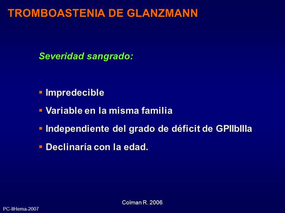 Severidad sangrado: Impredecible Impredecible Variable en la misma familia Variable en la misma familia Independiente del grado de déficit de GPIIbIII