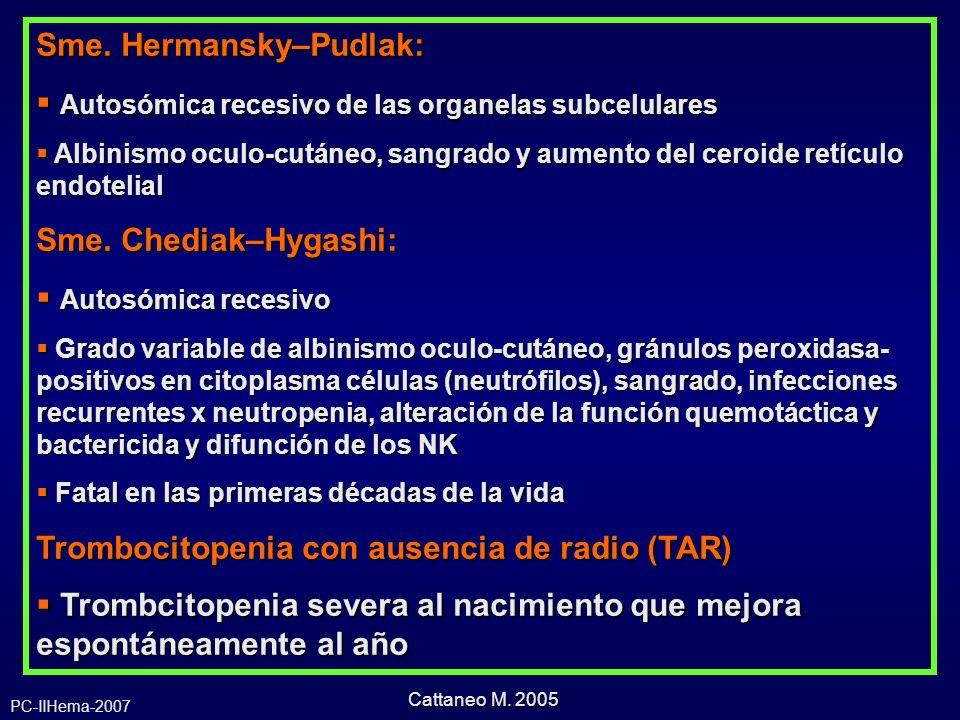 Sme. Hermansky–Pudlak: Autosómica recesivo de las organelas subcelulares Autosómica recesivo de las organelas subcelulares Albinismo oculo-cutáneo, sa