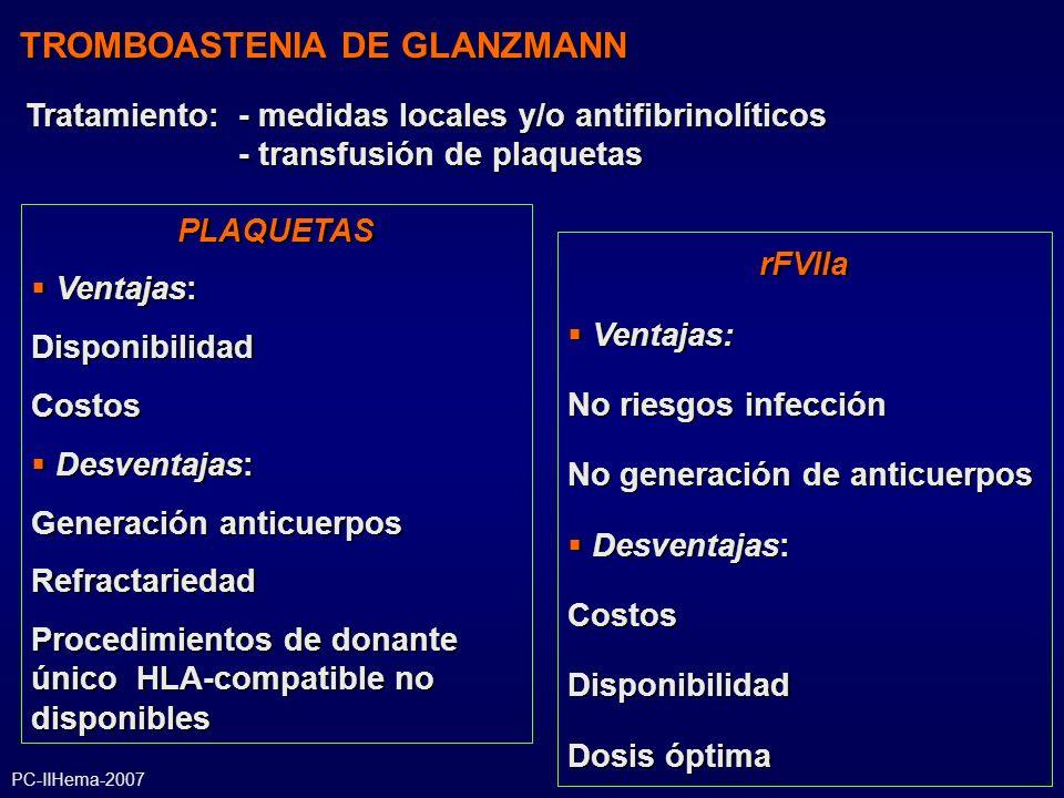 TROMBOASTENIA DE GLANZMANN PLAQUETAS Ventajas: Ventajas:DisponibilidadCostos Desventajas: Desventajas: Generación anticuerpos Refractariedad Procedimi