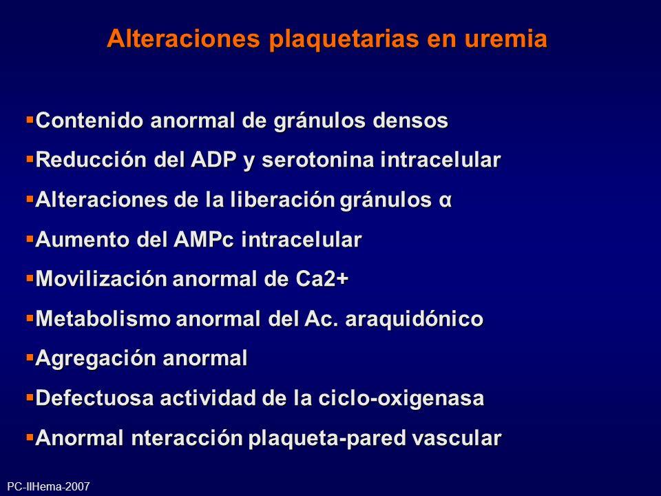 Alteraciones plaquetarias en uremia Contenido anormal de gránulos densos Contenido anormal de gránulos densos Reducción del ADP y serotonina intracelu