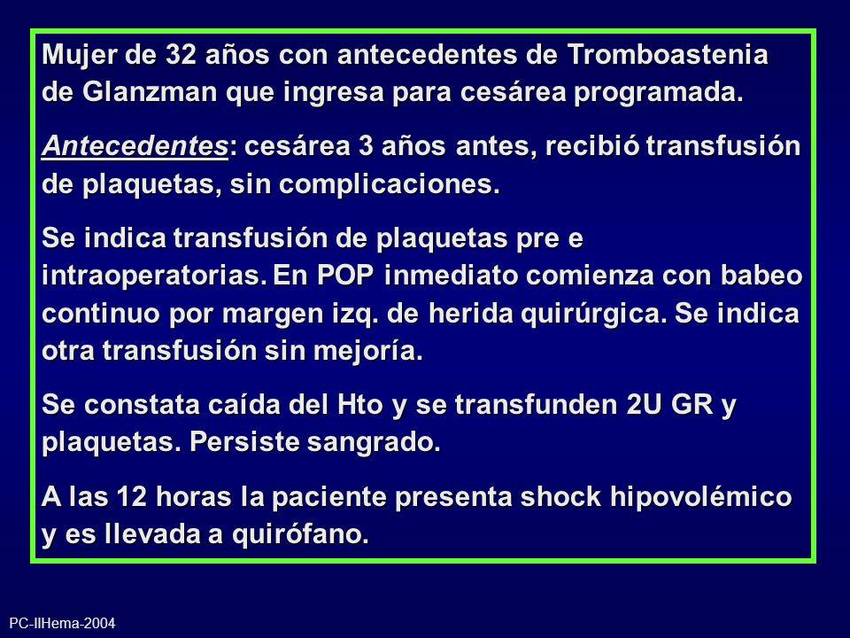 Mujer de 32 años con antecedentes de Tromboastenia de Glanzman que ingresa para cesárea programada. Antecedentes: cesárea 3 años antes, recibió transf