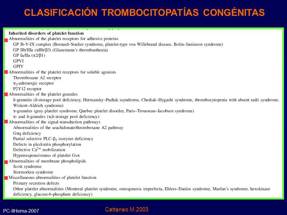 Diagnóstico Diferencial : Macrotrombocitopenias Mutaciones en gen MYH9 Mutaciones en gen MYH9 (cromosoma 22q12.3-q13.2, codifica la cadena pesada IIA de la miosina no-muscular) 1.Anomalía de May-Hegglin: inclusiones Cuerpos de Döhle- like en leucocitos, función plaquetaria generalmente normal, sangrado por trombocitopenia 2.Sme.