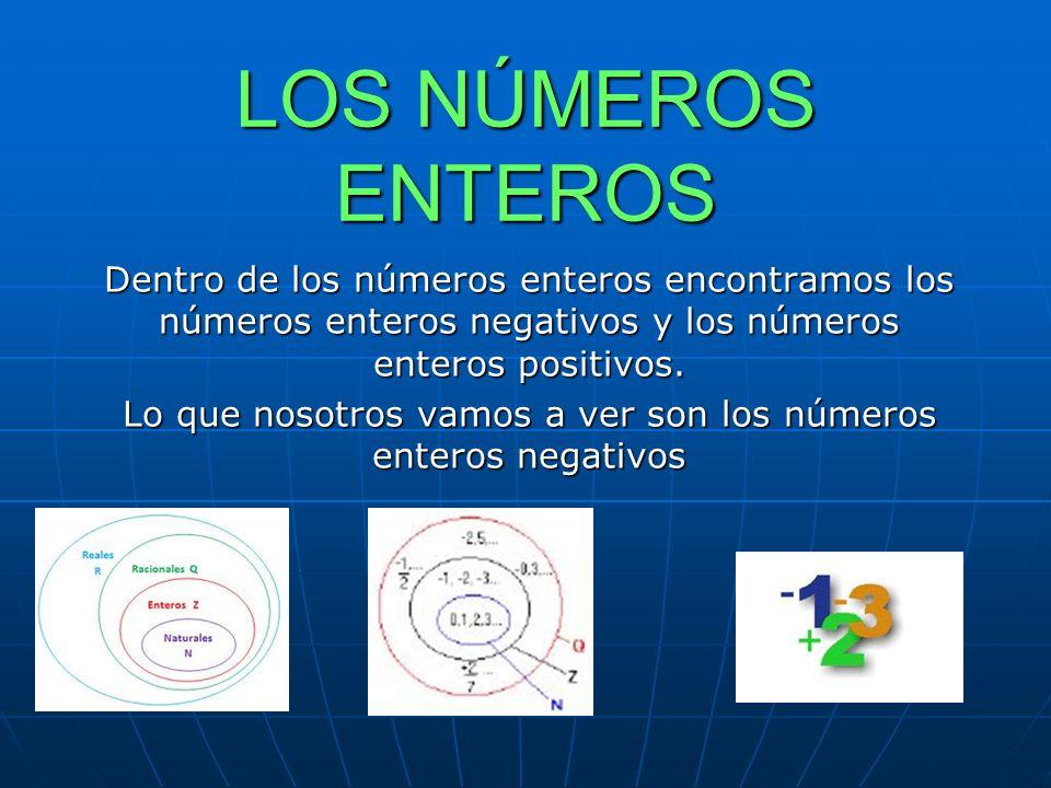 LOS NÚMEROS ENTEROS Dentro de los números enteros encontramos los números enteros negativos y los números enteros positivos.