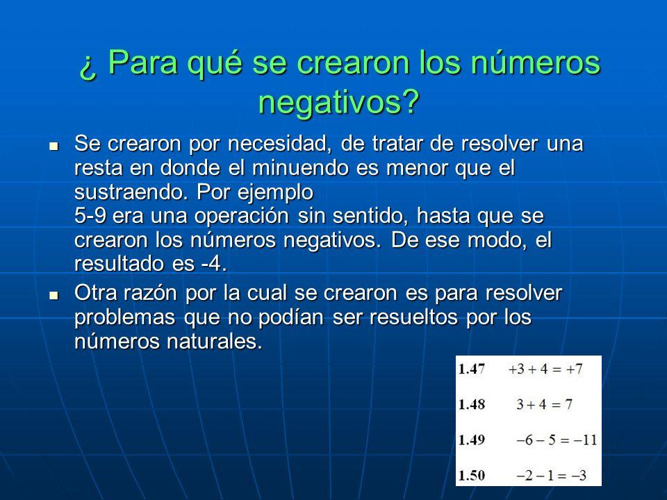 ¿ Para qué se crearon los números negativos.