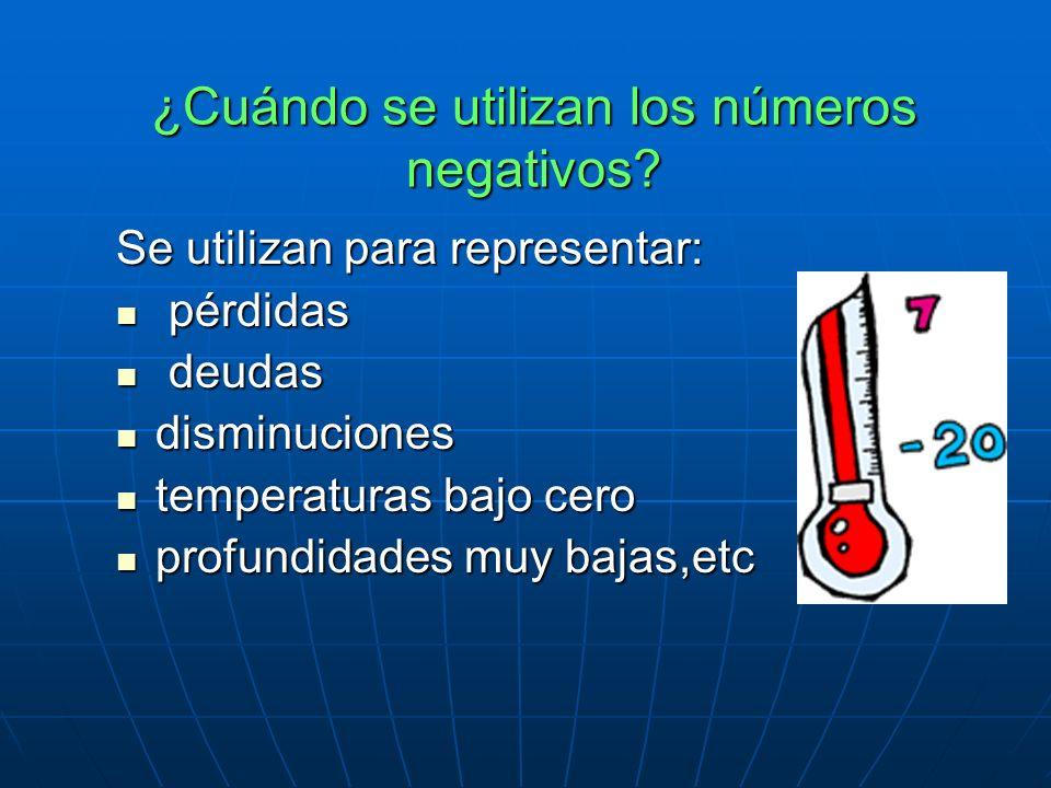 ¿Cuándo se utilizan los números negativos.