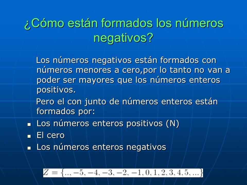 ¿Cómo están formados los números negativos.