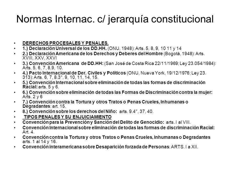 Normas Internac. c/ jerarquía constitucional DERECHOS PROCESALES Y PENALES. 1.) Declaración Universal de los DD.HH. (ONU, 1948): Arts. 5, 8, 9, 10 11
