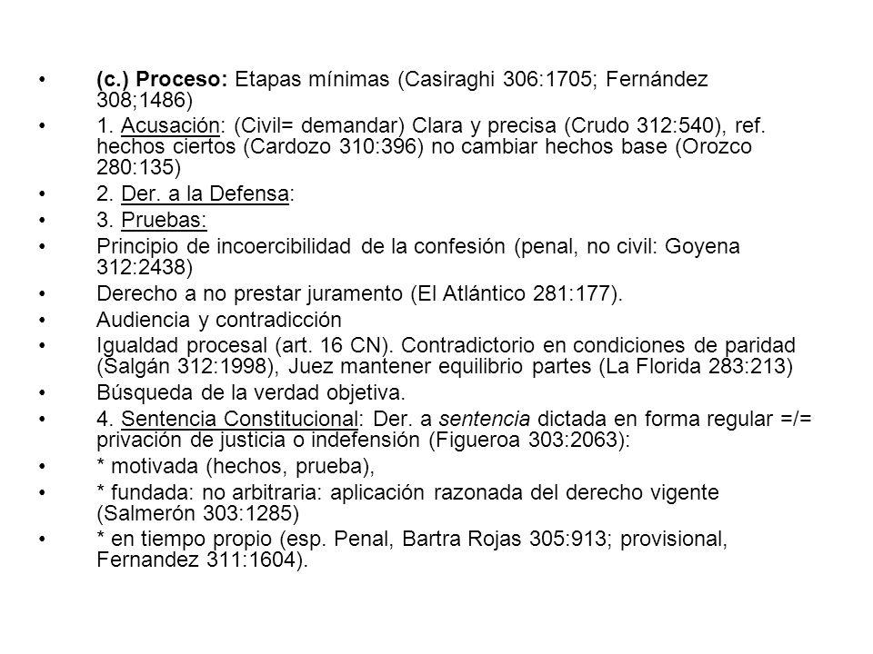 (c.) Proceso: Etapas mínimas (Casiraghi 306:1705; Fernández 308;1486) 1. Acusación: (Civil= demandar) Clara y precisa (Crudo 312:540), ref. hechos cie