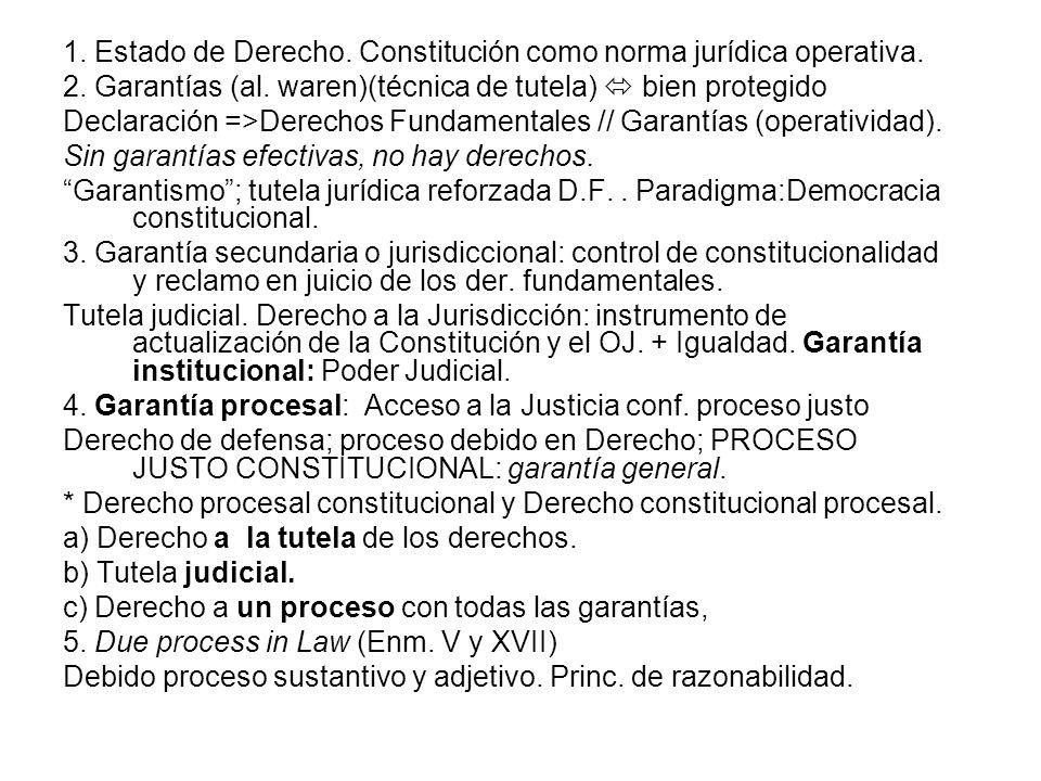 1. Estado de Derecho. Constitución como norma jurídica operativa. 2. Garantías (al. waren)(técnica de tutela) bien protegido Declaración =>Derechos Fu