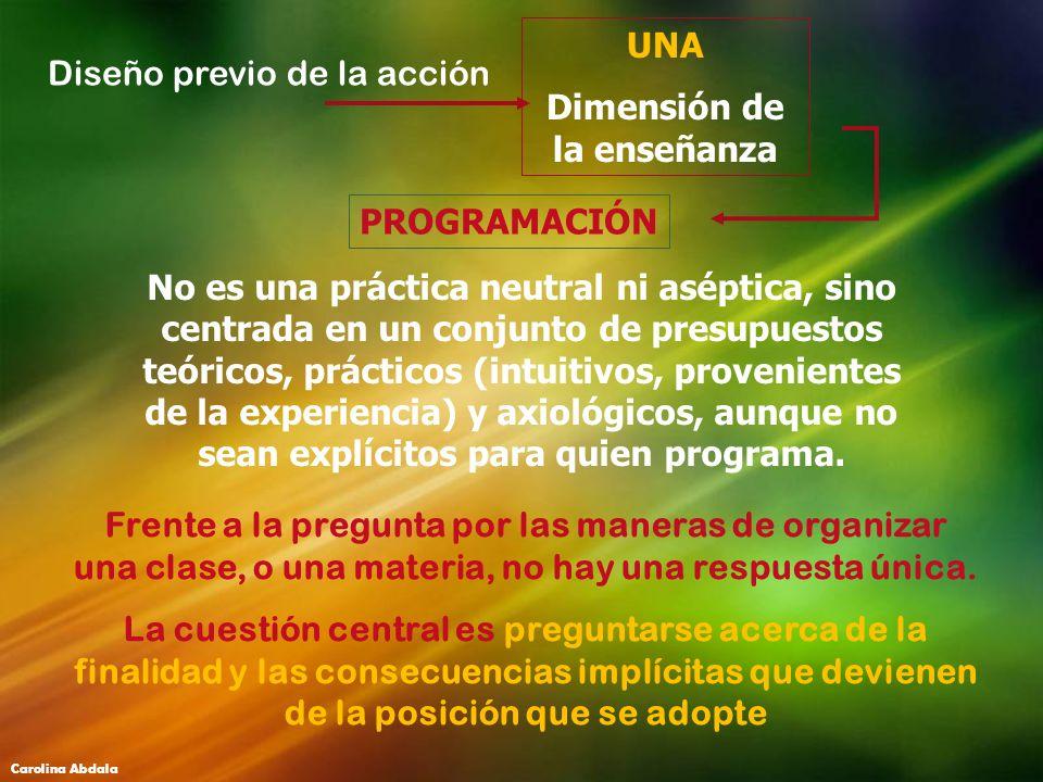 PROGRAMACIÓN Diseño previo de la acción UNA Dimensión de la enseñanza No es una práctica neutral ni aséptica, sino centrada en un conjunto de presupue