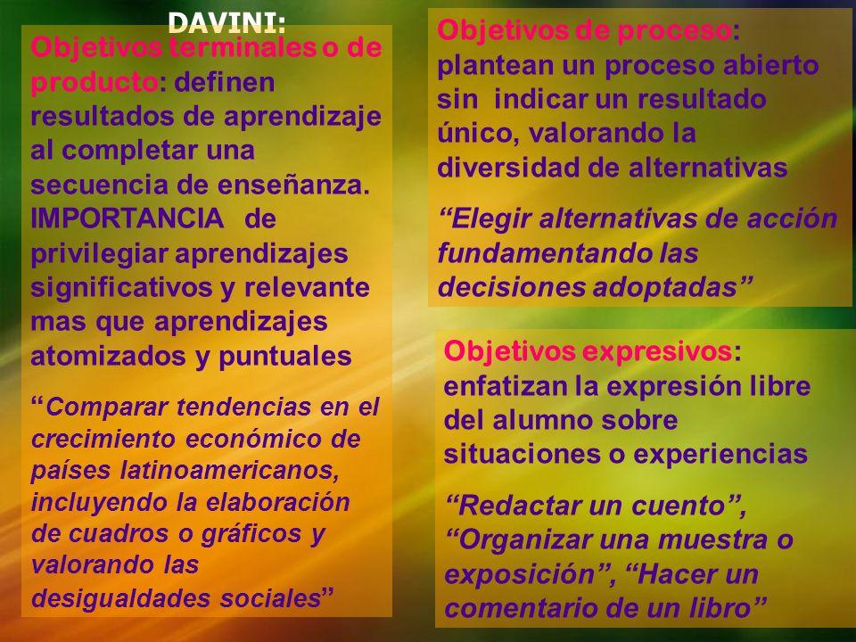 DAVINI: Objetivos terminales o de producto : definen resultados de aprendizaje al completar una secuencia de enseñanza. IMPORTANCIA de privilegiar apr
