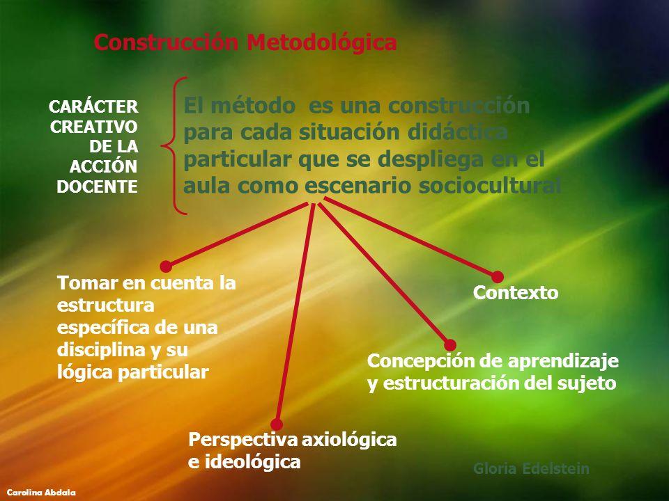Construcción Metodológica El método es una construcción para cada situación didáctica particular que se despliega en el aula como escenario sociocultu