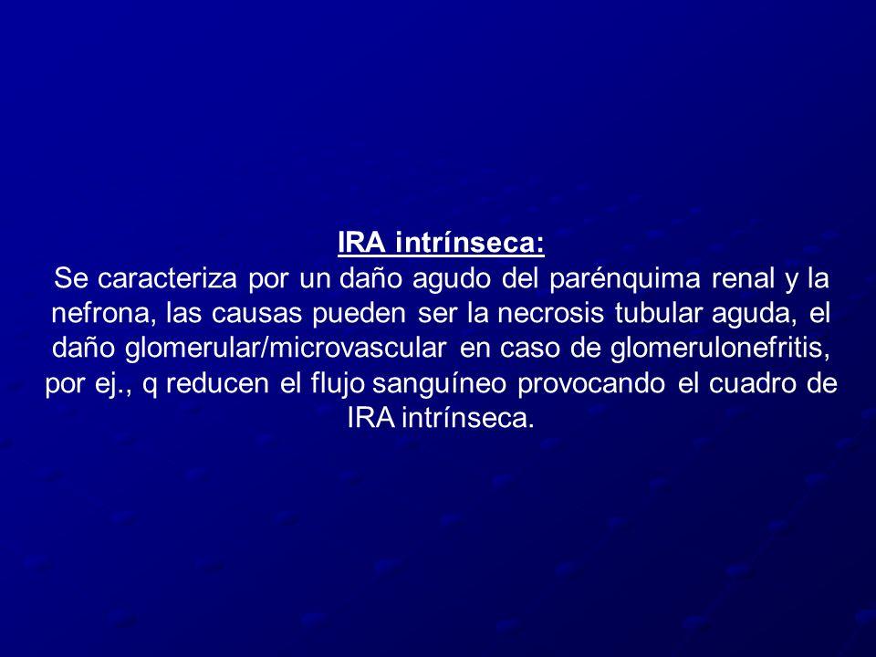IRA intrínseca: Se caracteriza por un daño agudo del parénquima renal y la nefrona, las causas pueden ser la necrosis tubular aguda, el daño glomerula