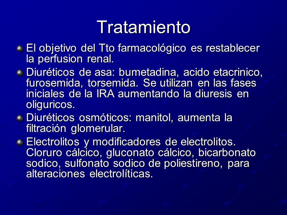Tratamiento El objetivo del Tto farmacológico es restablecer la perfusion renal. Diuréticos de asa: bumetadina, acido etacrinico, furosemida, torsemid